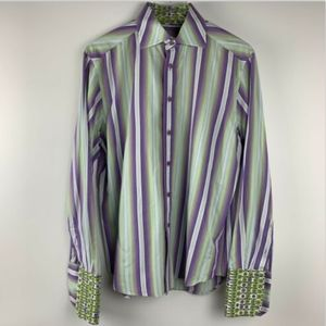 Robert Graham Mens Medium Green Shirt Lime Purple